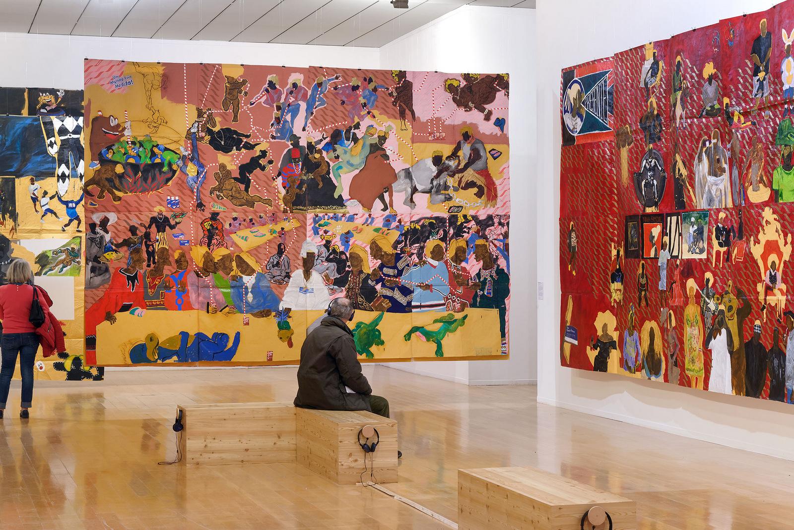 Vue de l'exposition Maxwell Alexandre, Pardo é Papel, au musée d'Art contemporain de Lyon, avril 2019 © Blaise Adilon