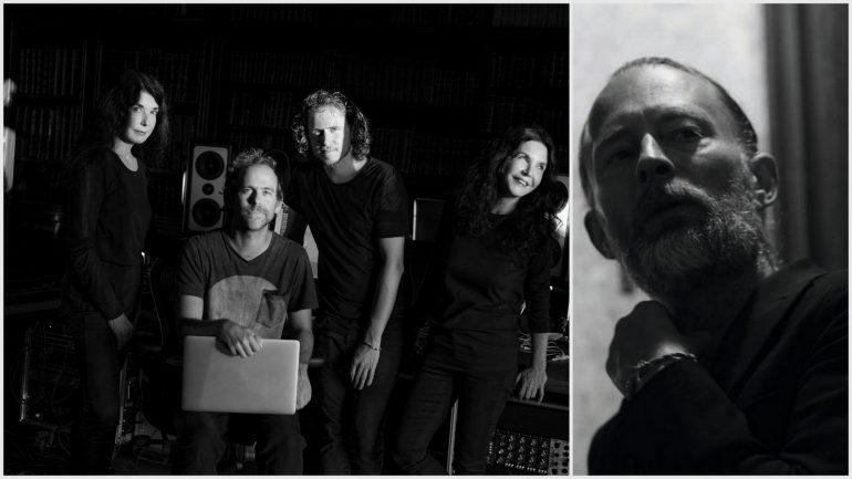 Katia et Marielle Labèque avec les guitaristes David Chalmin et Bryce Dessner © Brigitte Lacombe / Thom Yorke © Greg Williams (montage LC)