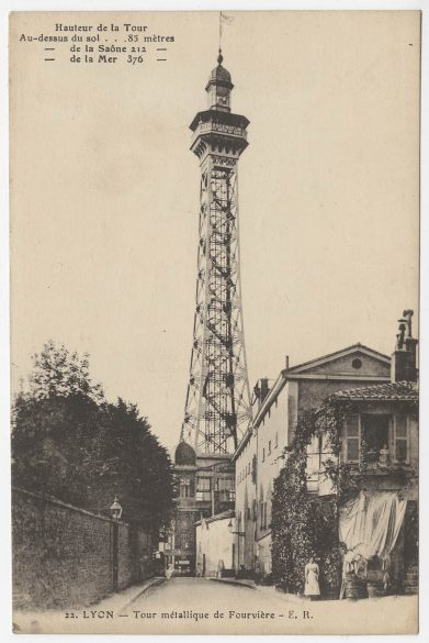Carte postale de la tour métallique de Fourvière © Archives municipales (4FI_02485)