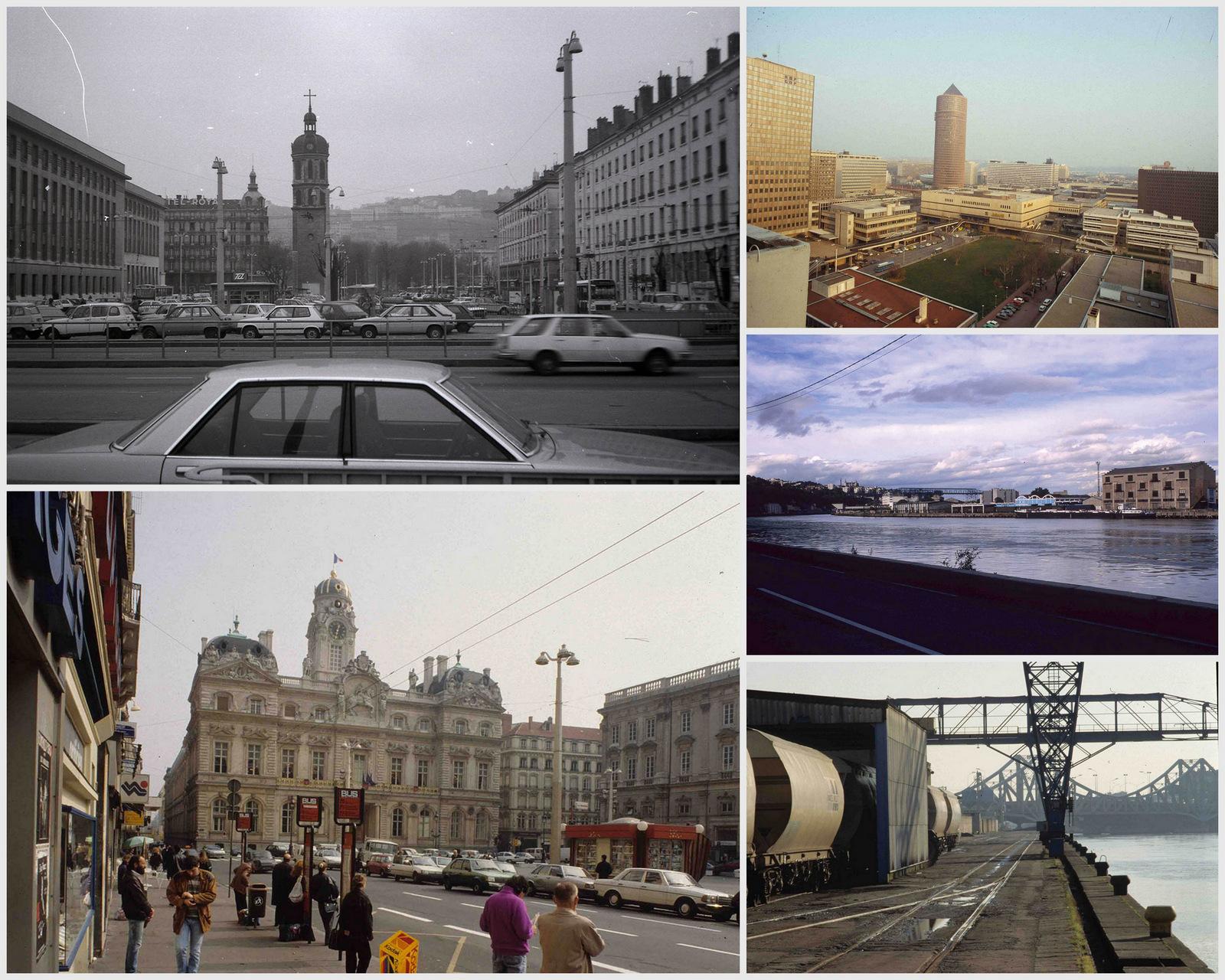 5lieux de Lyon méconnaissables aujourd'hui: la place Antonin-Poncet (photo de 1984), les Terreaux (1990), la Part-Dieu (1985), le sud de la Presqu'île qui ne s'appelle pas encore Confluence (1994) et le quai Rambaud (1991) © F.Guy / UrbaLyon (montage LC)