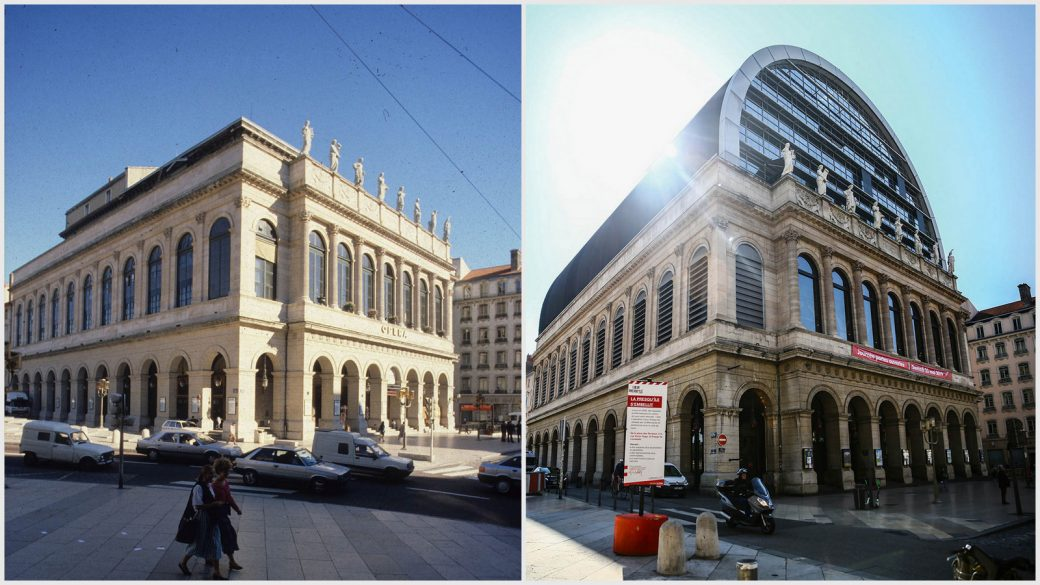 L'opéra de Lyon en 1985 © F.Guy (Urbalyon) Et en 2019 © Antoine Merlet (montage LC)