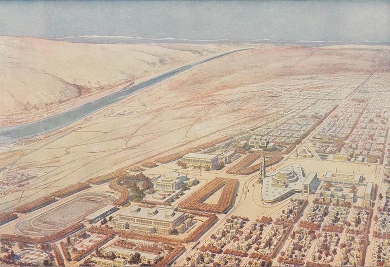 Vue aérienne de la cité rêvée par Tony Garnier [Une cité industrielle 3 SAT 2 / Gilles Bernasconi / Crédit photographique (reproduction) / Archives municipales de Lyon]