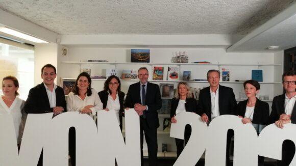 Etienne Blanc et les têtes de liste de la droite aux municipales à Lyon