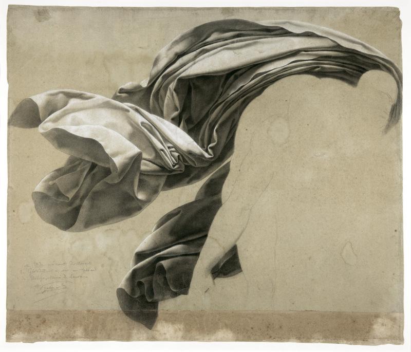 Anne-Louis Girodet de Roucy-Trioson – Étude de draperie pour scène de déluge, 1806. Mine de plomb et craie blanche sur papier beige © C.Clos / Musée d'arts de Nantes