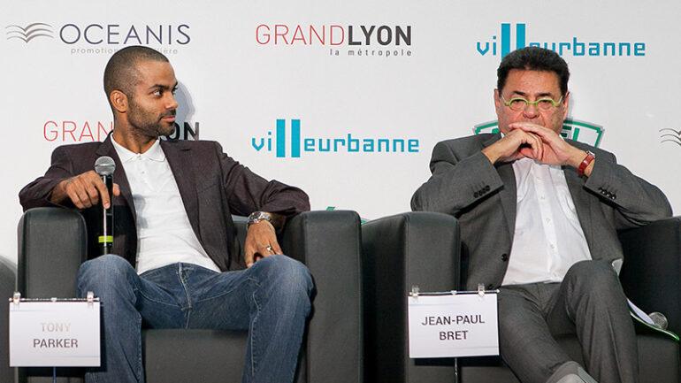 Tony Parker et Jean-Paul Bret à Villeurbanne en 2015 © Tim Douet