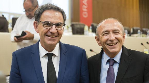 David Kimelfeld et Gérard Collomb, au conseil métropolitain, le 10juillet 2017 © Tim Douet