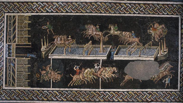 Mosaïque des jeux du cirque (détail) © J-M.Degueule, C.Thioc / Lugdunum Musée & Théâtres (Inv. 2000.0.1209)