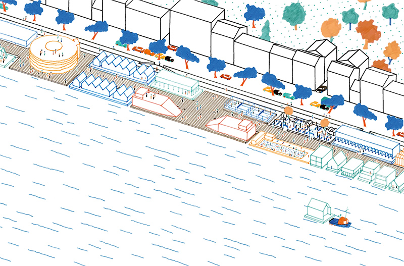 Projet de quartier sur l'eau à Lyon