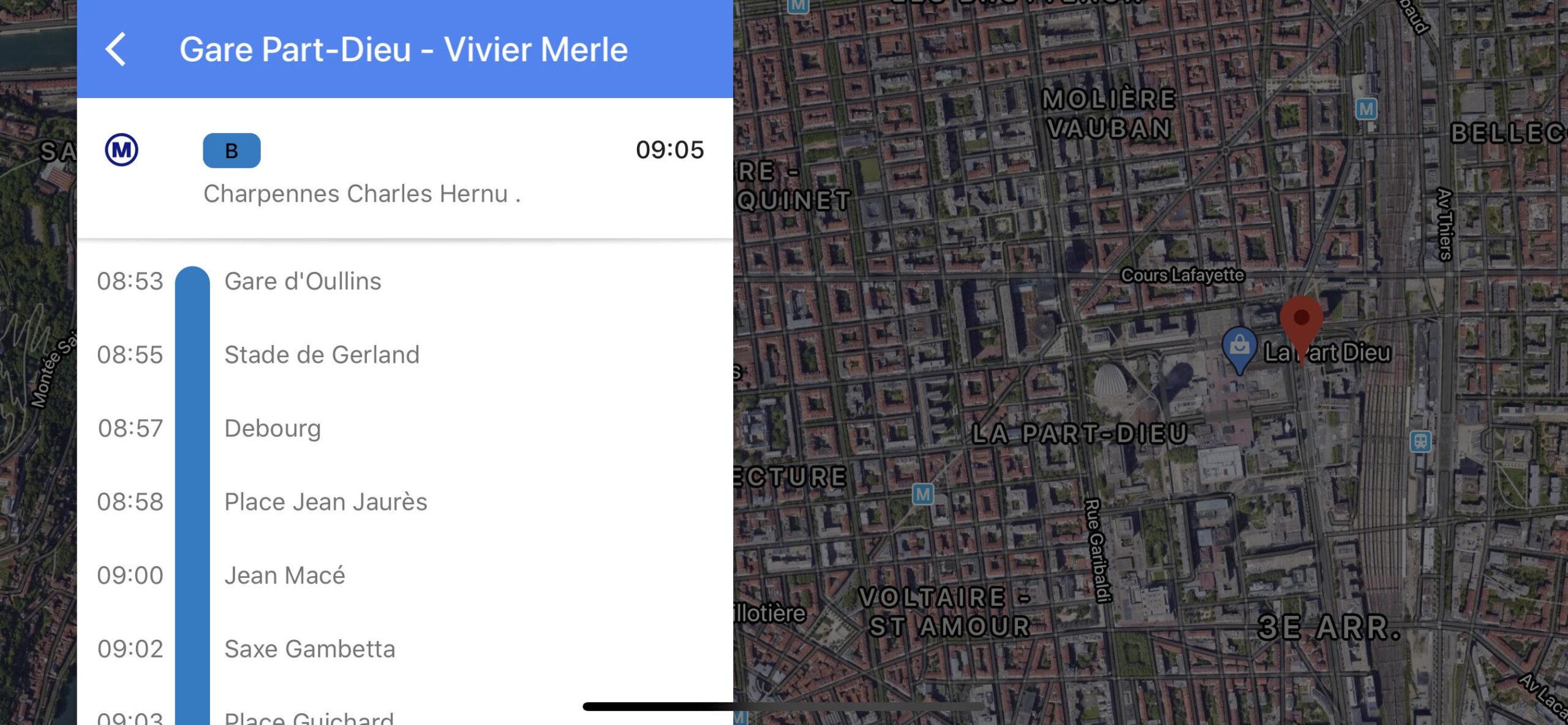 TCL Lyon dans Google Maps